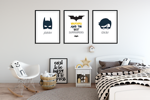Personalised-Brother-BATMAN-PICTURES-for-Boys-Bedroom-A4-Prints-Set-of-3-Names