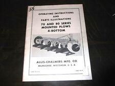 Allis Chalmers Model 70 80 Series 4 Bottom Plows Operators Parts List Manual