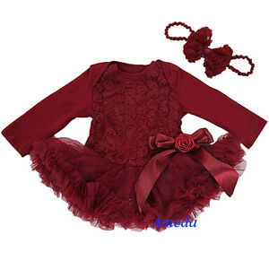 50d61e573 Newborn Baby Rosettes Rose Red Wine Ruby Bodysuit Romper Pettiskirt ...