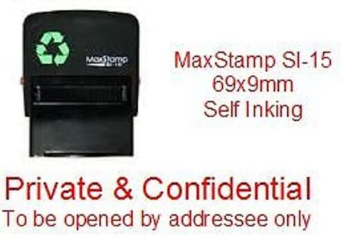 69x9mm FREE 1st Class Private /& Confidential SELF INKING Rubber Stamp