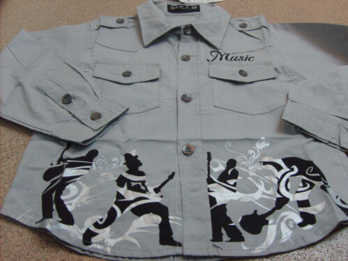 Size New 3-4 Years Boy/'s Long Sleeve Grey Music Shirt