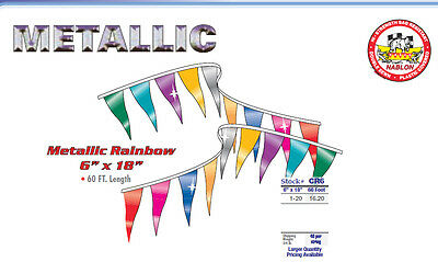Metallic Pennant Flag Streamers Multi Color 60 Foot (40 Panels Per String)
