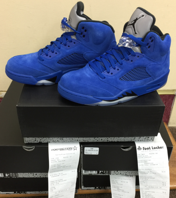 Nike Air Jordan 5 Retro Royal Blue Suede Black Flight Suit V Aj5 ... 74b87d5d8