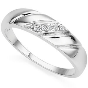 0.03 CT GENUINE DIAMOND 18K WHITE GOLD OVER STERLING SILVER MENS RING SIZE 10