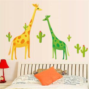 Giraffe-Cactus-Decor-Decal-Nursery-Wall-Sticker-for-Kids-Children-Baby-Bed-Room