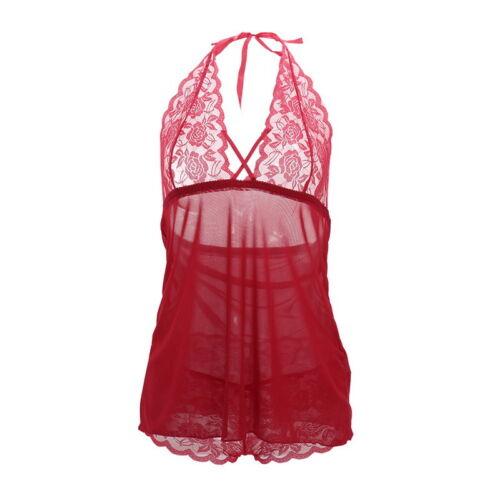 US Lingerie Lace Dress Babydoll Women Underwear Nightwear Sleepwear Plus Size 02