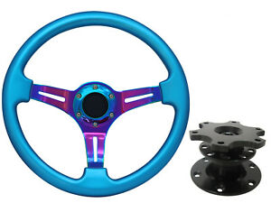 Details about Turquoise Blue Pink TS Steering Wheel + Quick Release boss  kit 42BK for VW