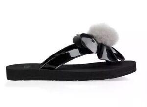 7a3bcdf9c78 Details about Big Girl's UGG Australia POPPY FLIP-FLOPS Sandals Black  1092718K Size 4