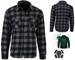 Motorcycle-Cotton-Flannel-Shirt-LINED-with-DuPont-KEVLAR-CE-armour-DARK-GREY