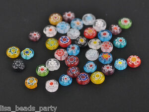 Hot-100pcs-Mixed-8mm-Round-Millefiori-Glass-Lampwork-Loose-beads-Findings