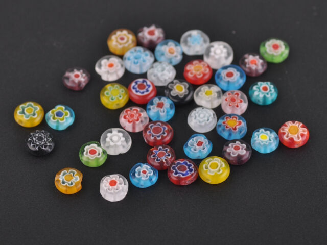 Hot 100pcs Mixed 8mm Round Millefiori Glass Lampwork Loose beads Findings