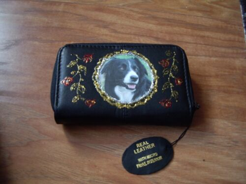 NUOVO Black and White Border Collie Cane Foto Morbida Pochette in pelle nera//wallet