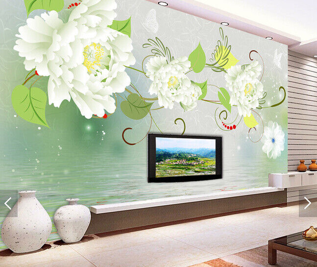 3D Green Flowers Leaf 697 Wall Paper Wall Print Decal Deco Indoor Wall Mural CA