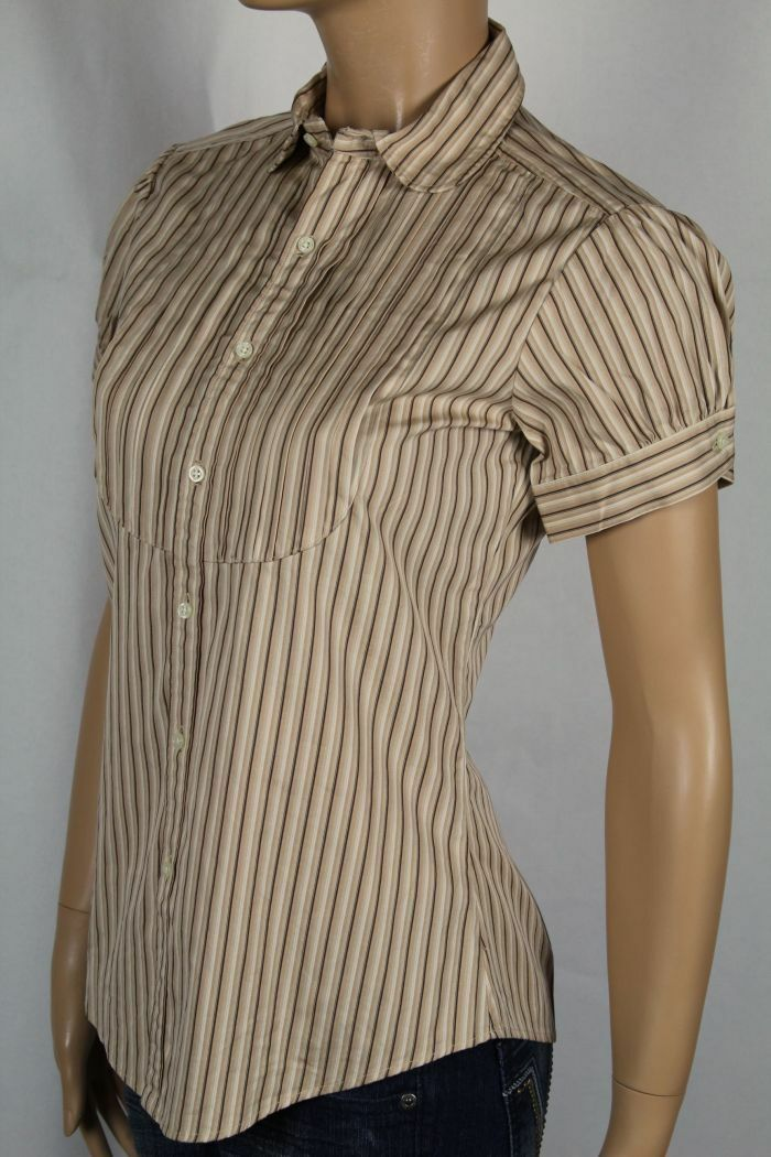 Ralph Lauren Khaki braun Button Down Short Sleeve Pleated Shirt Blouse NWT