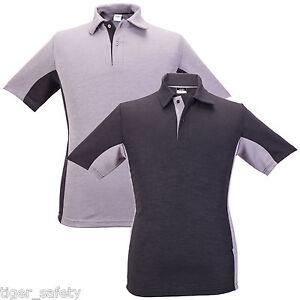 AG-Workwear-Mens-Premium-Quality-Short-Sleeve-Polo-Shirt-Grey-amp-Black-S-XXXL