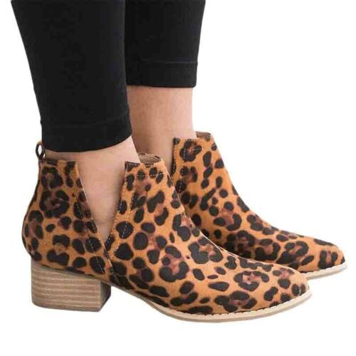 Women Ladies Leopard Print Ankle Boots Chunky Flat Low Heel Autumn Shoes Size US