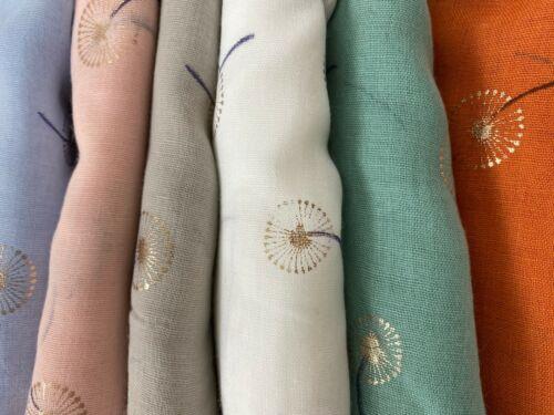 Ladies Pretty Metallic Dandelion Flower Foil Print Lightweight Scarf Women Shawl