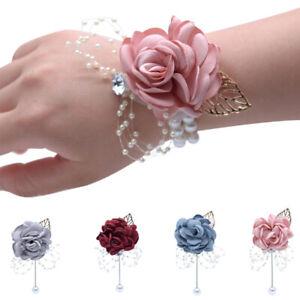 Wedding-Party-Groom-Bride-Bridesmaid-Wrist-Flower-Corsage-Boutonniere-Decor