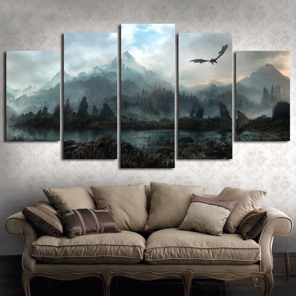 Large Framed Dragon Game of Thrones Canvas Print Home Decor Wall Art Five Piece