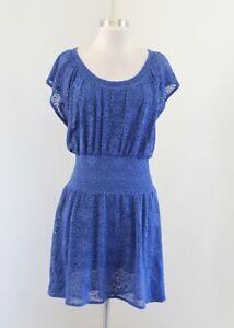 Leifnotes Anthropologie Blue Floral Lace Smocked Waist Hi Lo Peasant Dress Sz XS