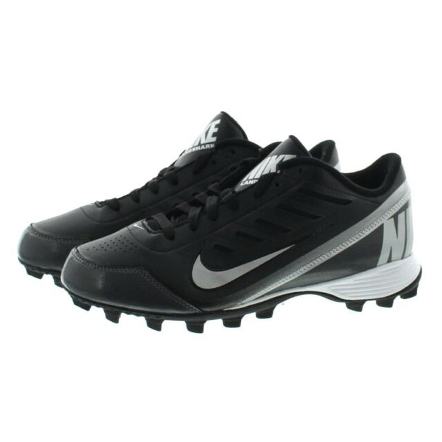 9e7e47297 Nike 511286 Mens Land Shark 2 Low Top Football Cleats Shoes Black White