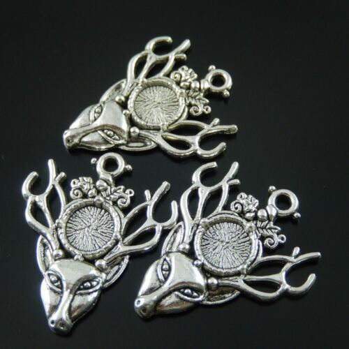 38429 Antique Style Silver Alloy Deer Antler Cameo Setting 9*9mm Charm 6pcs