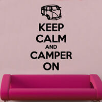 Keep Calm And Camper On Decal Vinyl Wall Sticker Art Home Sayings Popular