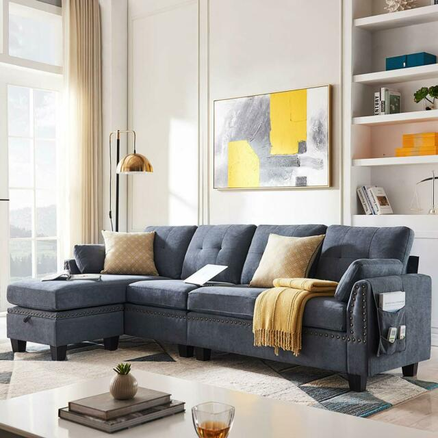 Bluish Grey Reversible Sectional Fabric L-Shape Sofa Couch for Living Room  4seat