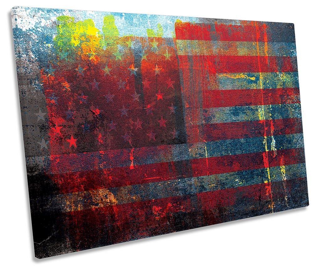 United States Flag Grunge SINGLE CANVAS Wand KunstWORK Drucken Kunst