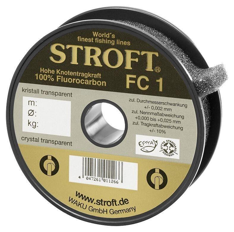 STROFT FC1 100 m Fluorocarbon Angelschnur 0.10 mm bis 0.52 mm Kristall transp.
