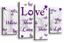 Love Citation Toile Art Photo Sarcelle Gris Blanc Violet Mural Imprimer 4 panneaux