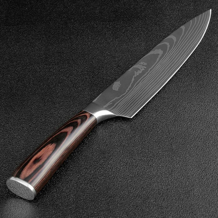 Damascus Pattern Chef Knife 8-Inch Japanese Kitchen Knife Sl