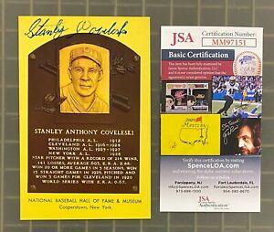 Stanley Stan Coveleski Signed Yellow HOF Plaque Postcard AUTO JSA COA Senators