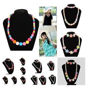 Bunte-Perle-Halsketten-Schmuck-Armband-Set-Geburtstag-Dekor-Kinder-Halsket-xj