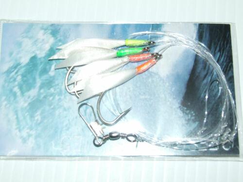 10 Feather Hokki Lures Sea Fishing Mackerel Herring Cod Pollock Bass Boat Rigs