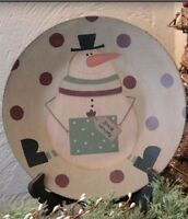 """Primitive Wooden """"rolly Polly Snowman"""" Plate"""