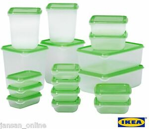 IKEA PRUTA Set of 17 Clear Plastic Food Storage Containers with