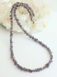 Tansanit-kette-edelsteinarmkette-Splitter-Nuggets-Blau-Collier-Halskette-Natur