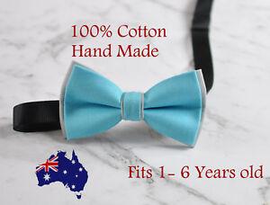 Boy-Kids-Baby-Infant-Cotton-Aqua-Blue-Grey-Bow-Tie-Bowtie-Wedding-1-6-Years-Old