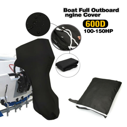 600D waterproof Outboard Engine Motor Full Cover Fit 100-150HP black