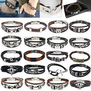 Valentine Gift Friendship Genuine Leather Braided Bracelet Wristband Men Ladies