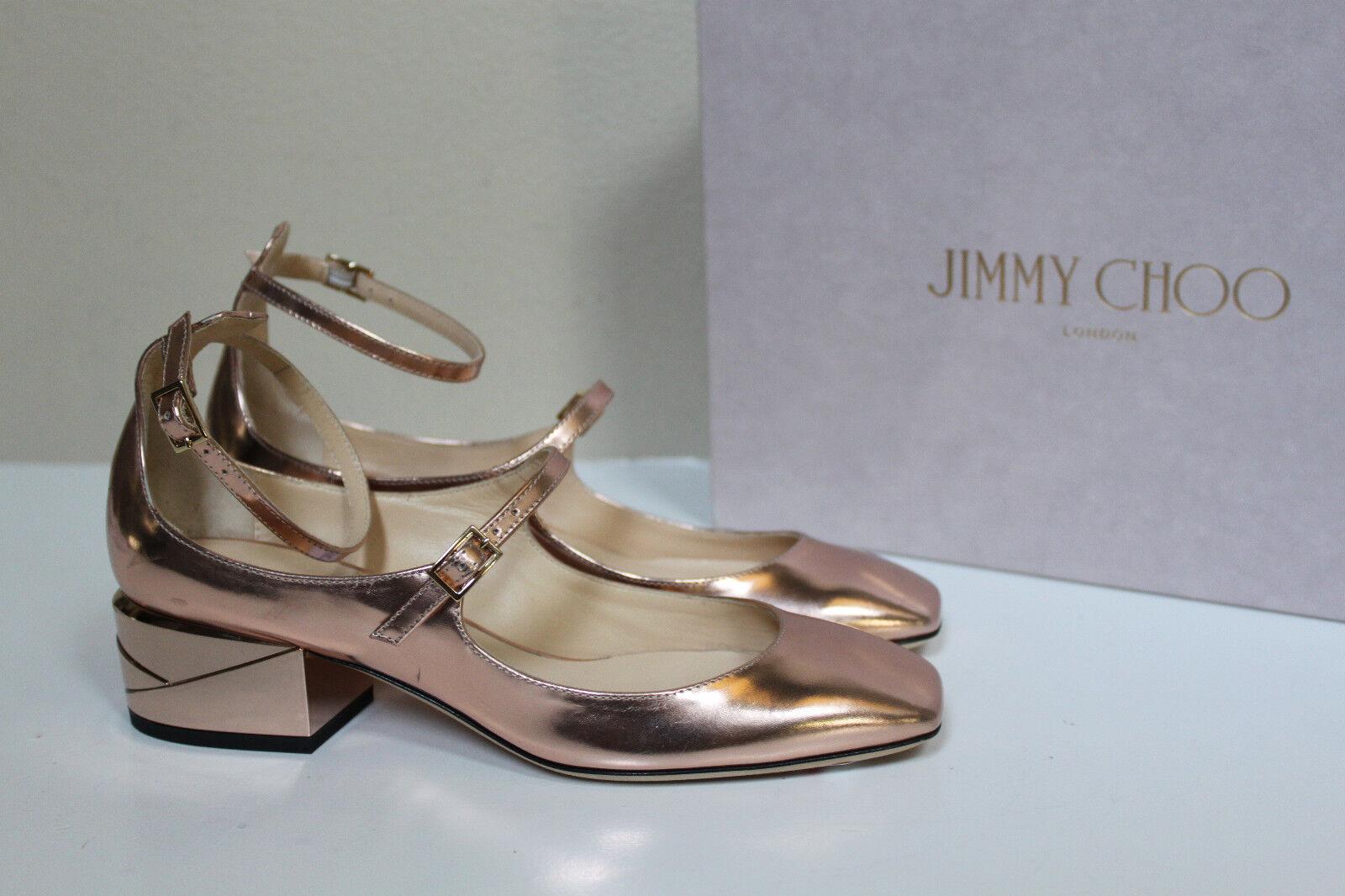 Nuevas Talla 7.5 37.5 Jimmy Choo Choo Choo Wilbur Espejo de oro rosado de Cuero Tacón Bajo Bomba Zapatos  venta de ofertas
