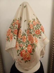 Cornelia-James-Orange-floral-scarf-Ditsy-Vintage-100-silk-handrolled-Roses