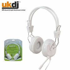 White Multimeadia Headset Headphones Mic Microphone - Internet Gaming Video Chat