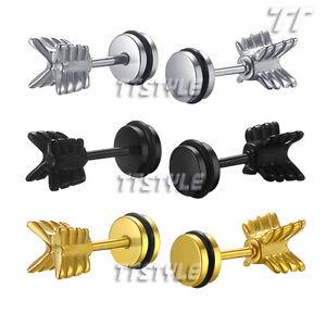 Details About Tt Surgical Steel Arrow Fake Ear Plug Earrings Body Piecing Be60