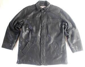 Men-039-s-Vintage-ROCK-039-N-039-BLUE-Hip-Length-Black-Thick-100-Leather-Jacket-Size-XL
