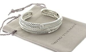 David-Yurman-Sterling-2-19ct-Diamante-laberinto-Doble-Lazo-con-bisagras-brazalete-pulsera