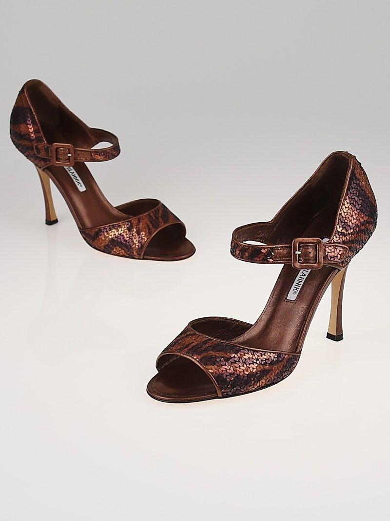 NEW MANOLO BLAHNIK Bronze Sequin CALDO Mary Jane SANDALS SHOES 37.5 39 39.5 40