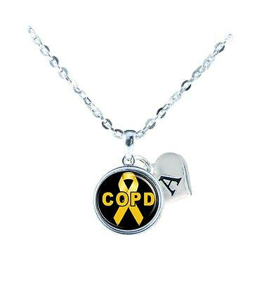 Custom COPD Awareness Yellow Ribbon Silver Necklace Jewelry Initial Family Gift