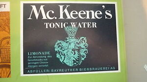 OLD-GERMAN-SOFT-DRINK-CORDIAL-LABEL-BAYREUTHER-BREWERY-McKEENES-TONIC-WATER